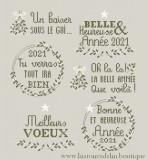 Bonne année - 6 messages à broder (fiche imprimée)