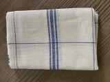 Torchon lin à broder 14 fils (écru/bleu)